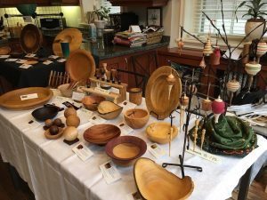 Table with wood turnings
